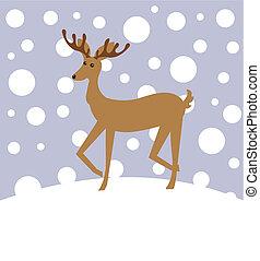 Reindeer in winter landscape. Vector Christmas illustration