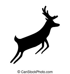 Reindeer isolated on white background. Silhouette of deer,...