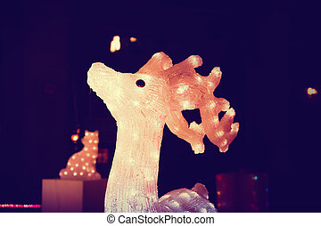 Reindeer light bulb in Christmas day