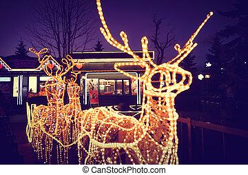 Reindeer light bulb in Christmas day