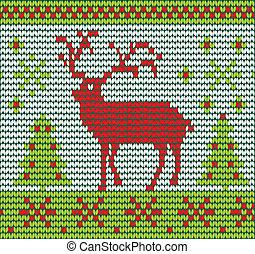 Reindeer made of wool  vector illustration eps 10