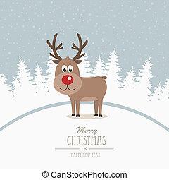reindeer merry christmas winter