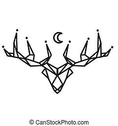 Reindeer Moon Tattoo Design Vector Image