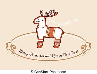 reindeer., noël, gingerbread., vendange, carte postale