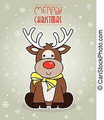 reindeer., noël, joyeux, card.