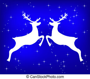 Reindeer on a blue glittering Christmas background.