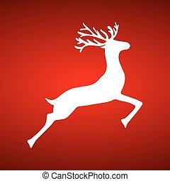 Reindeer on red background holiday vector illustration