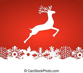 Reindeer on red background with snowflakes, vector...
