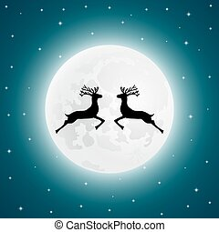 Reindeer on the background of the full moon