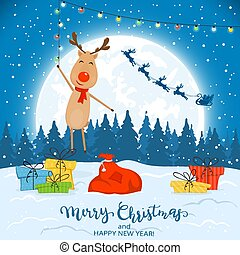 Reindeer on Winter Background with Gifts and Christmas Lights