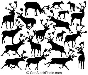 Reindeer or caribou silhouettes - Set of eps8 editable...