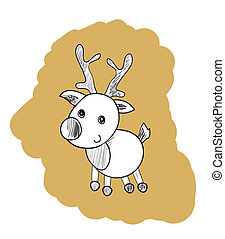 Reindeer Outline Illustration