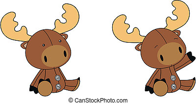 reindeer plush cartoon in vector format