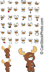 reindeer plush cartoon set