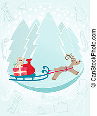 Reindeer pulling a sleigh with Christmas gifts - Seasonal...