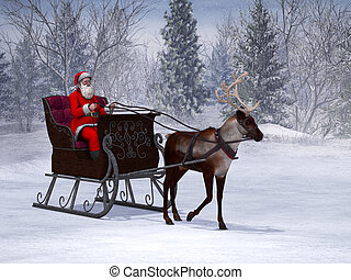 Reindeer pulling a sleigh with Santa Claus.