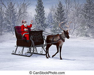 Reindeer pulling a sleigh with waving Santa Claus.