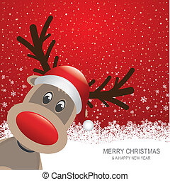 reindeer red hat snow background