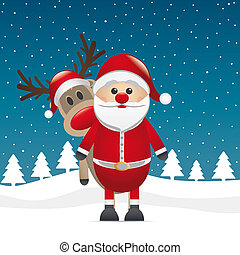 reindeer red nose behind santa claus