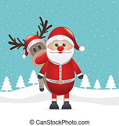 reindeer red nose behind santa