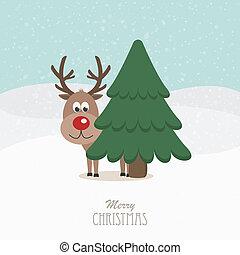 reindeer red nose behind tree snowy background