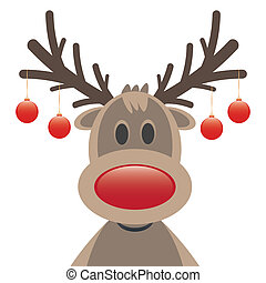 reindeer red nose christmas balls - reindeer red nose and...