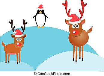 reindeer red nose - vector funny reindeer and penguin
