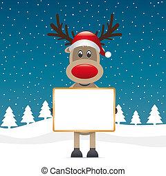 reindeer red nose holding signboad - rudolph reindeer red...