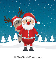 reindeer red nose santa claus