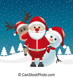 reindeer red nose santa claus snowman