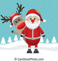 reindeer red nose santa claus wave