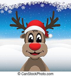 reindeer red nose santa hat winter landscape