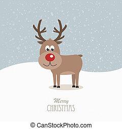 reindeer red nose snowy