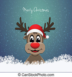 reindeer red nose winter landscape