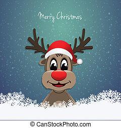 reindeer red nose winter landscape