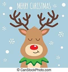 Reindeer red nosed cute smile cartoon. Christmas card.