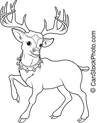 Coloring page of cartoon reindeer Rudolf