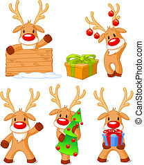 Reindeer Rudolph - Five separately grouped little Rudolphs....