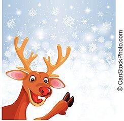 Reindeer Rudolph on background
