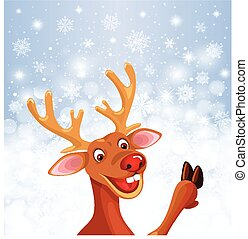 Reindeer Rudolph with copy space Christmas snowflake...