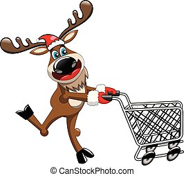 Reindeer running and pushing empty cart isolated white...