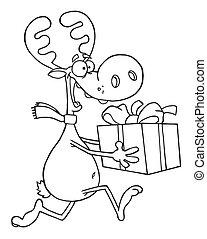 Reindeer Runs With Bag