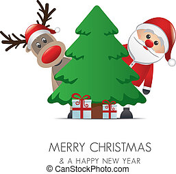 reindeer santa claus christmas gift box tree