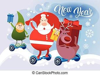 Reindeer Santa Claus Elf Ride Electric Hover Board Happy New Year Holiday Merry Christmas