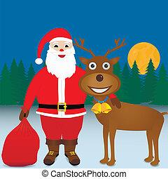 reindeer., santa