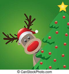 reindeer santa hat behind christmas tree