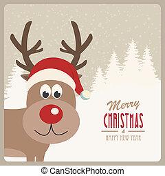 reindeer santa hat snowy background