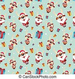 Reindeer santa Seamless Pattern