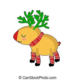 reindeer., scarf., kawaii, characters., kerstmis, gekke , schattig, dier