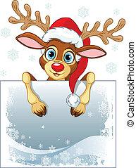 Reindeer Sign - Christmas reindeer holding blank sign